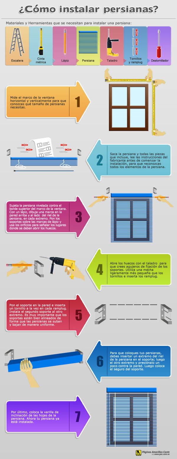 como instalar persianas infografía